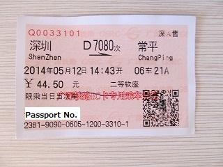 高速鉄道の切符