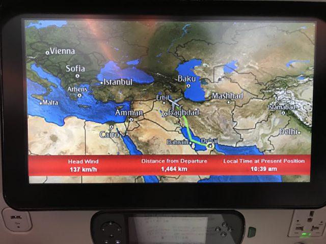 機内ディスプレイでの航路情報の写真
