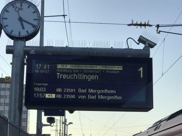 ヴュルツブルグHbfの表示板の写真