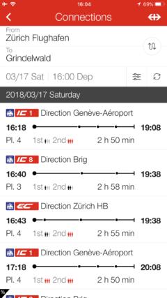 鉄道時刻(往き)の画面写真