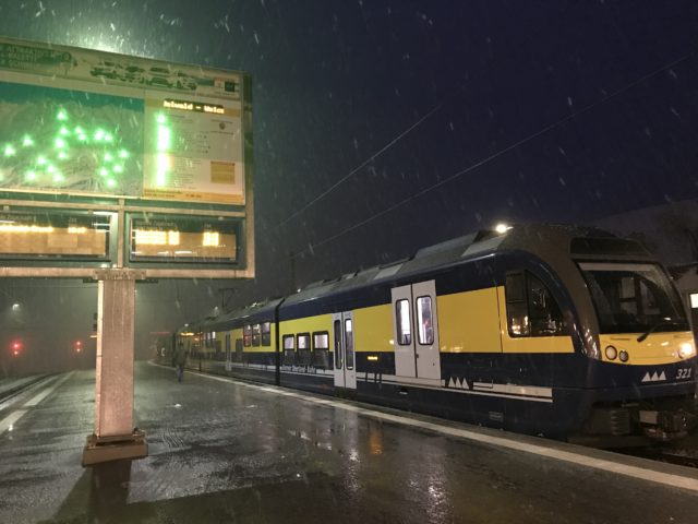 グリンデルワルド駅到着の写真