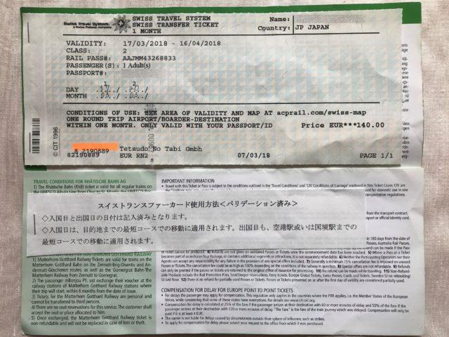 スイストランスファーチケットの写真